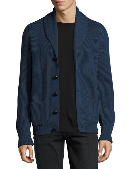 TOM FORD Wedgewood Ribbed Wool Cardigan, Blue