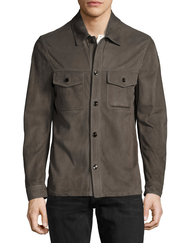 Suede shirt jacket men