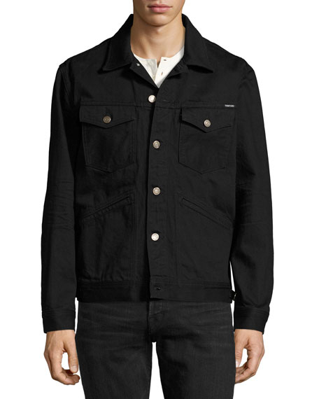 Classic Western Denim Jacket, Worn Black