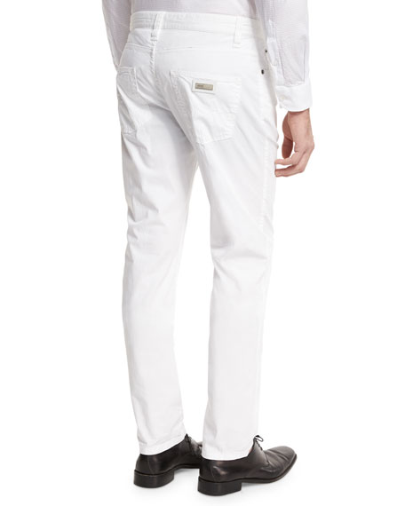AJ Stretch Gabardine Slim-Fit Pants, White