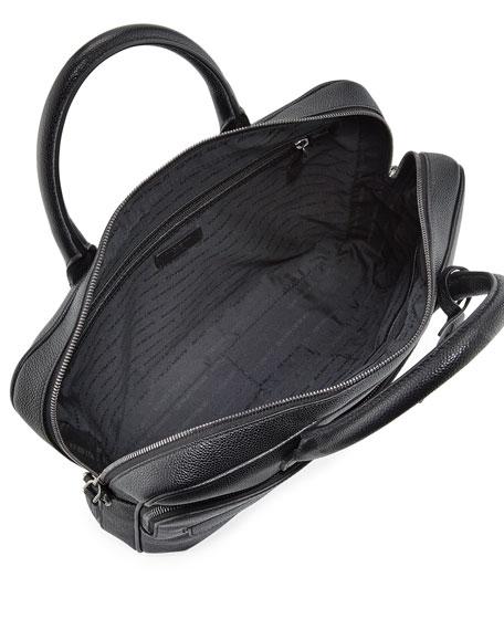 Caviar Leather Briefcase, Black