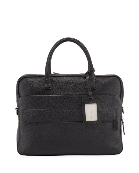 Giorgio Armani Caviar Leather Briefcase, Black