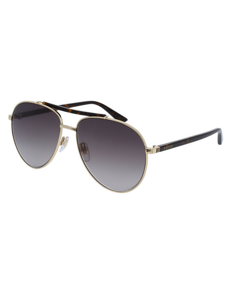 Gucci Metal Aviator Sunglasses, Golden/Brown