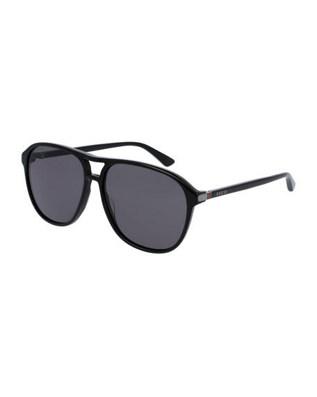 Gucci Men's Acetate Aviator Sunglasses, Black