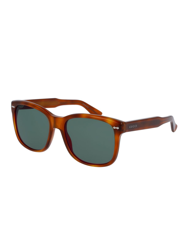 d3e8cfe7ea7 GUCCI Men39S Runway Havana Acetate Square Sunglasses Brown