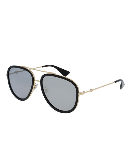 Gucci Rimmed Metal Aviator Sunglasses, Black/Gold