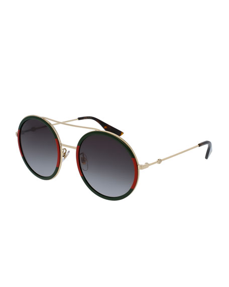 Gucci Web Round Sunglasses, Green/Red/Green | Neiman Marcus