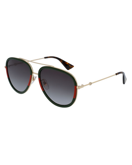 Gucci Web Aviator Sunglasses, Green/Red/Green