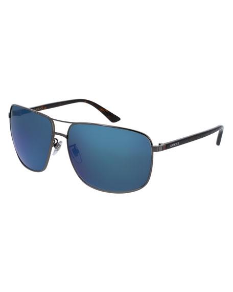 Gucci Mirrored Rectangular Metal Aviator Sunglasses, Gray