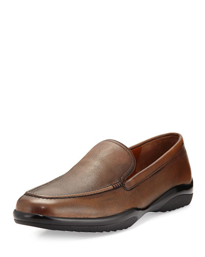 Michigan Textured Leather Loafer, Coffee (Brown)