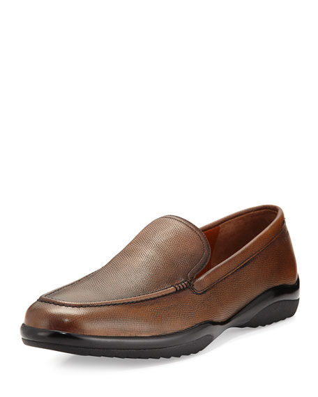 Bally Michigan Textured Leather Loafer, Coffee (Brown)