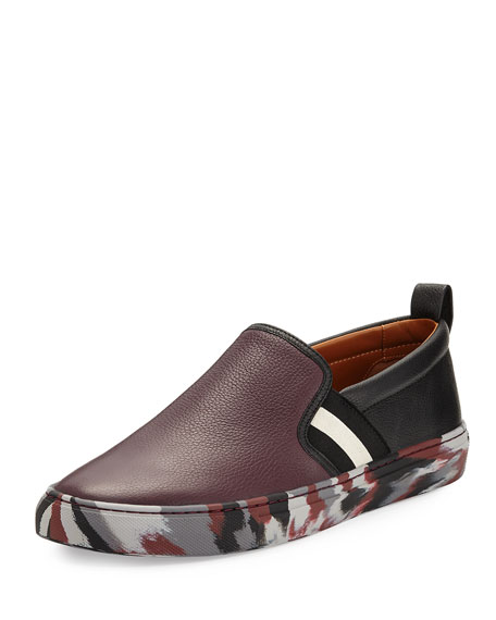 Bally Herald Leather Slip-On Sneaker with Camo Sole,