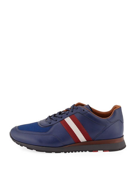 Leather Trainer Sneaker w/Trainspotting Stripe, Marine Blue