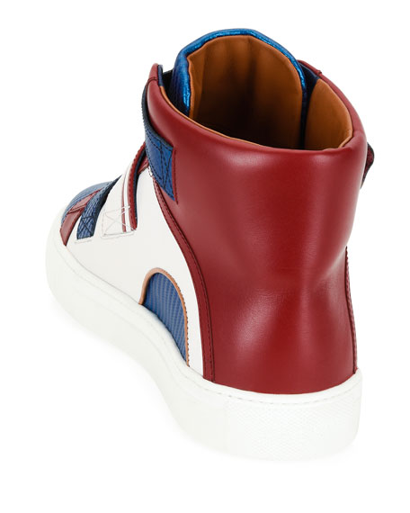 Herick Leather High-Top Sneaker, American Flag