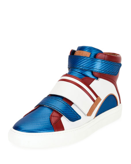 Bally Herick Leather High-Top Sneaker, American Flag