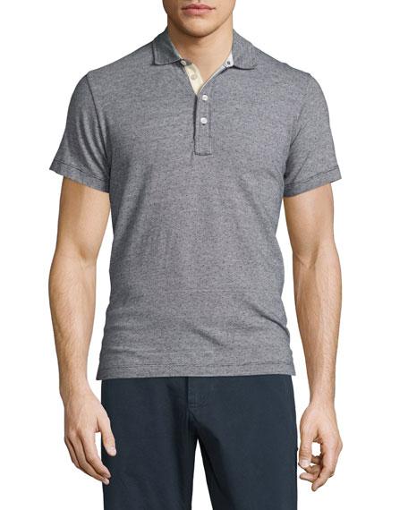 Smith Mini Dot-Print Short-Sleeve Polo Shirt, Navy