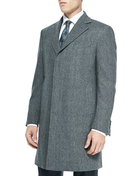Single-Breasted Herringbone Overcoat