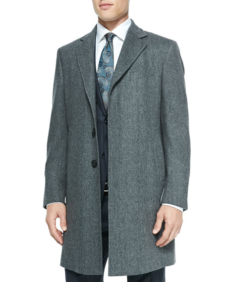 Ermenegildo Zegna Single-Breasted Herringbone Overcoat