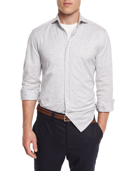 Brunello Cucinelli Knit Long-Sleeve Sport Shirt