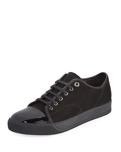 Men's Suede & Patent Leather Low-Top Sneakers