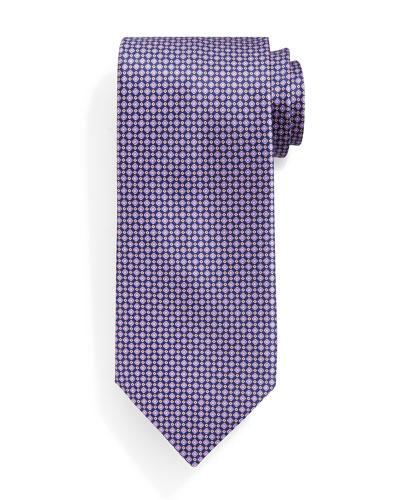 Check-Patterned Silk Tie, Purple