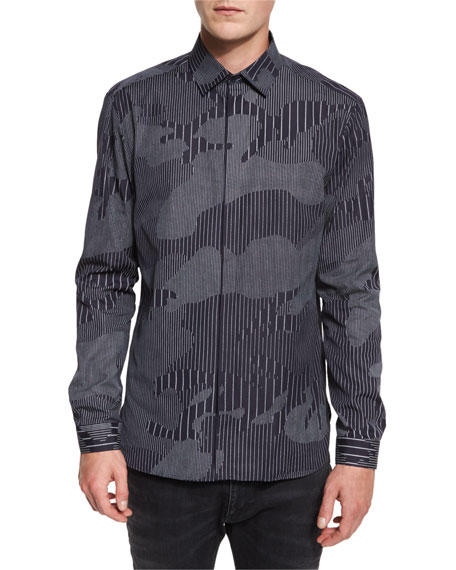 Chalk-Stripe Camo Sport Shirt