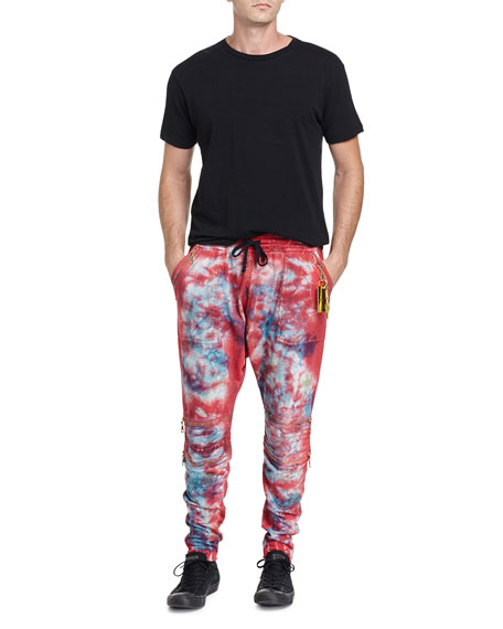 Paint-Splatter Moto Jogger Pants, White/Black