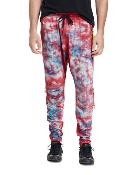 Robin's Jeans Paint-Splatter Moto Jogger Pants, White/Black