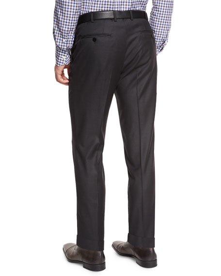 Isaia Twill Flat-Front Trousers, Charcoal