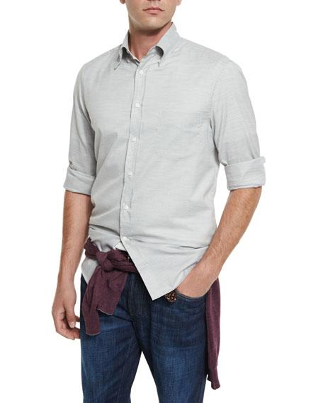 Brunello Cucinelli Solid Twill Long-Sleeve Sport Shirt