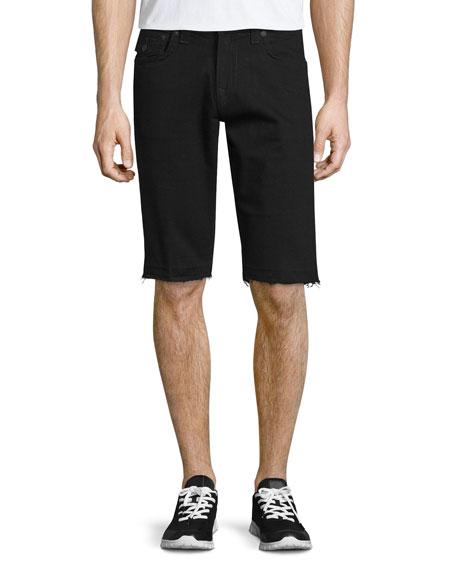 Ricky Flap-Pocket Cutoff Shorts, Black