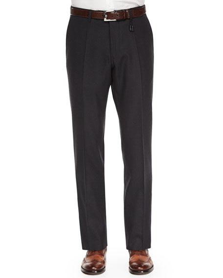 Incotex Benson Super 130s Wool Trousers, Charcoal
