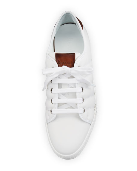 Playfield Men's Leather Low-Top Sneaker, White