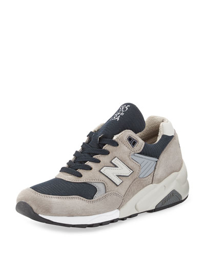 Men's 585 Bringback Suede-Mesh Sneaker, Gray/Navy