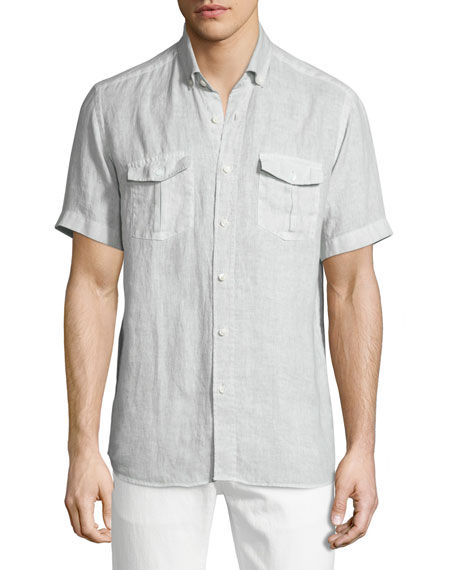 Neiman Marcus Linen Short-Sleeve Shirt