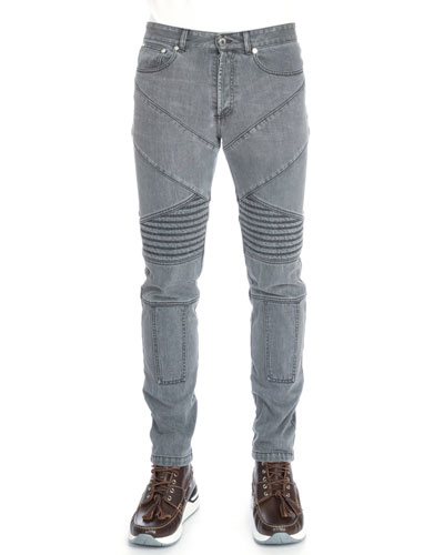 Slim-Fit Moto Denim Jeans