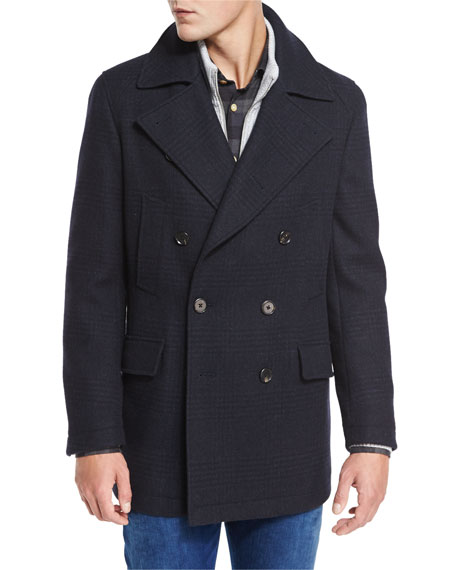 Neiman Marcus Plaid Wool Pea Coat, Navy