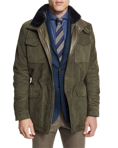 Canali Suede & Leather Jacket with Shearling Fur
