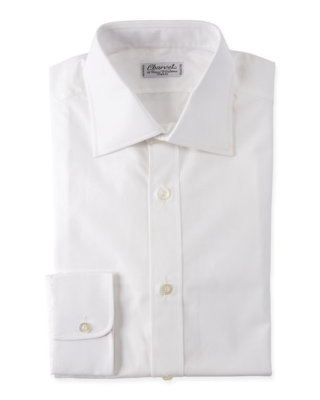 Charvet Poplin French-Cuff Shirt, White