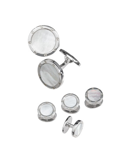 Jan Leslie Round Mother-of-Pearl Cuff Link and Stud Set