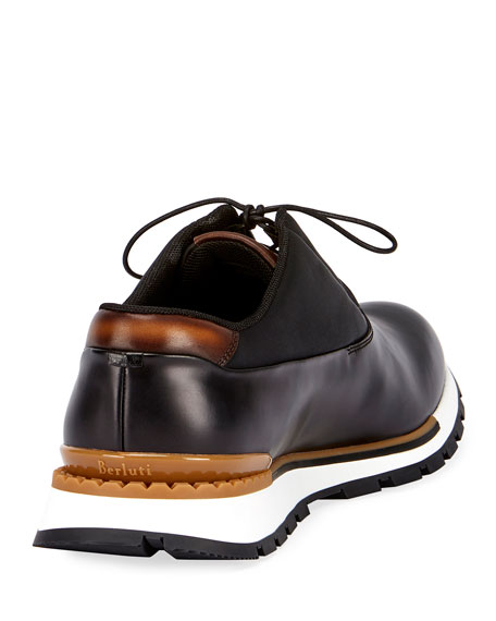 Berluti Fast Track Men's Leather Trainer Sneakers, Black