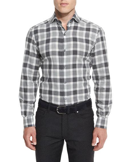 Large-Check Long-Sleeve Sport Shirt, Gray