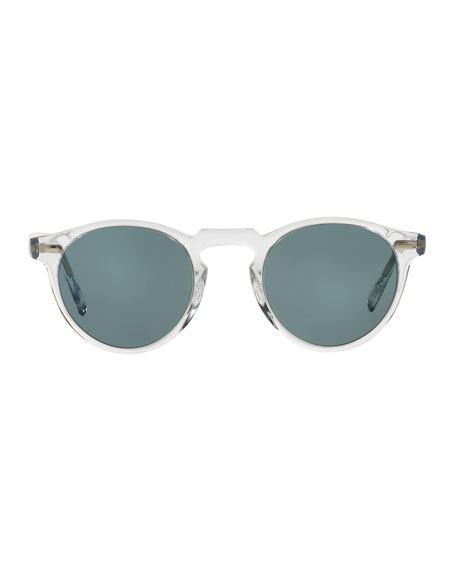 Image 2 of 2: Oliver Peoples Men's Gregory Peck 47 Round Sunglasses