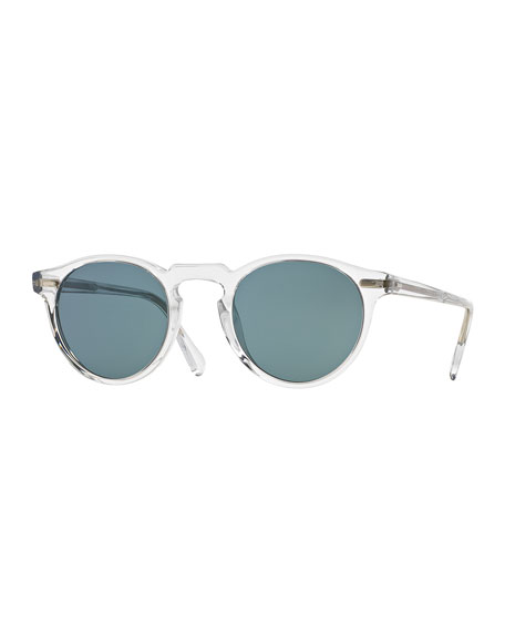 Image 1 of 2: Oliver Peoples Men's Gregory Peck 47 Round Sunglasses