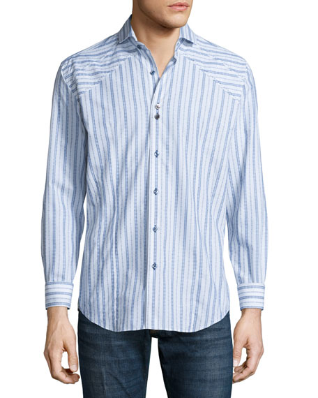 Bogosse Striped Long-Sleeve Sport Shirt, White