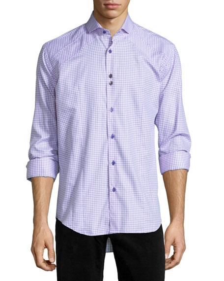 Houndstooth Long-Sleeve Sport Shirt, Pink