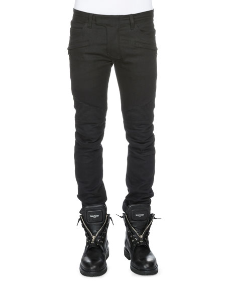 Balmain Clean Stretch-Denim Biker Jeans, Black
