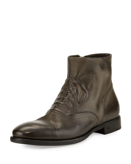John Varvatos Fleetwood Ghosted Lace-Up Ankle Boot, Gray