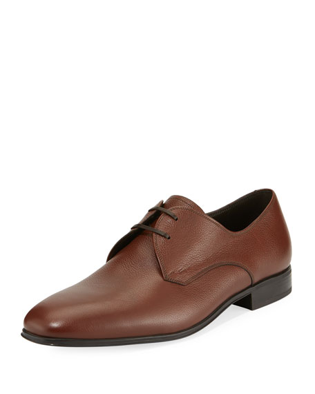 Salvatore Ferragamo Men's Calf Leather Dress Oxford, Tan/Camel