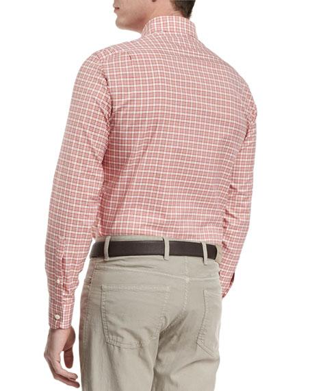 Check Long-Sleeve Sport Shirt, Red